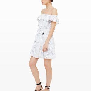 Club Monaco silk off the shoulder print mini dress
